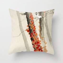 Sparrows in the forest - Vinatage Japanese woodblock print Art Throw Pillow