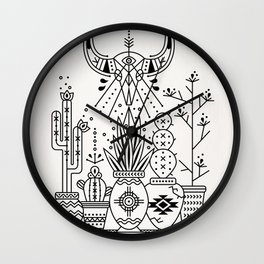 Santa Fe Garden – Black Ink Wall Clock