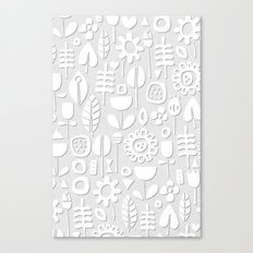 paper cut flowers white silver Canvas Print