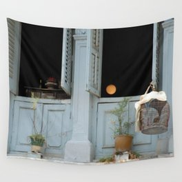 Birdcage and moon in Singapore Wall Tapestry