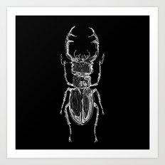 Lucanus cervus on dark Art Print