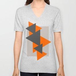 Orange and Grey Triangles Unisex V-Neck