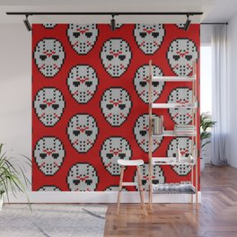 Knitted Jason hockey mask pattern Wall Mural