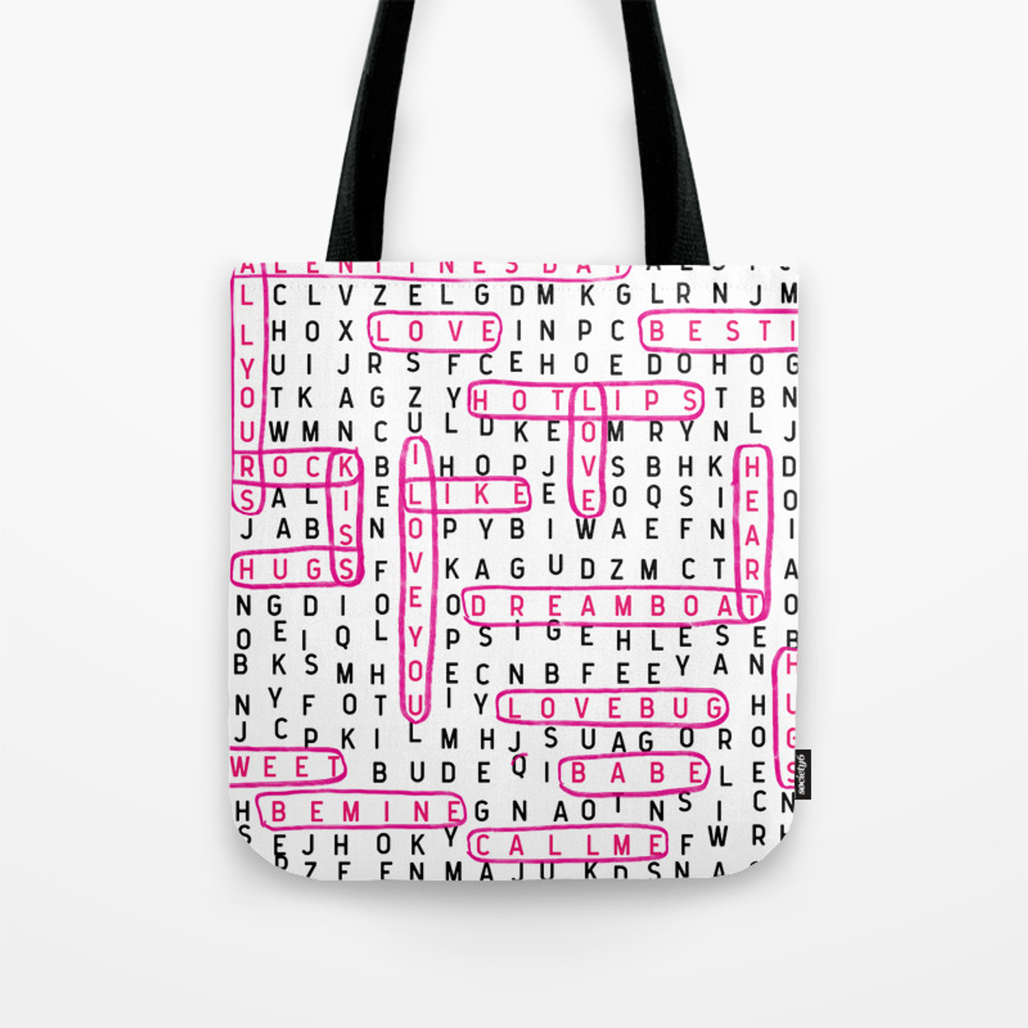 70945c6f2 crossword word search valentines day love typography word lover Tote Bag