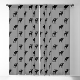 Bull Moose Silhouette - Black on Gray Blackout Curtain