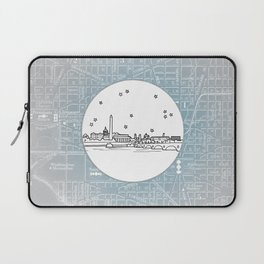 Washington D.C., City Skyline Illustration Drawing Laptop Sleeve