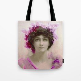 Beautiful,young lady,Belle epoque,victorian era, vintage, angelic girl, beautiful,floral,gentle,peac Tote Bag
