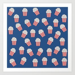 Cute Popcorn Bucket in red and blue Art Print