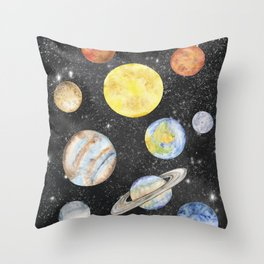 Watercolor Planets Throw Pillow