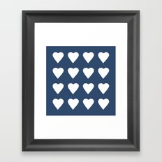 16 Hearts White on Navy Framed Art Print