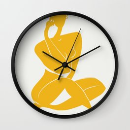 Nude sitting pose in yellow Wall Clock