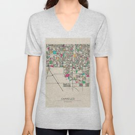 Colorful City Maps: Chandler, Arizona Unisex V-Neck