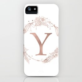 Letter Y Rose Gold Pink Initial Monogram iPhone Case