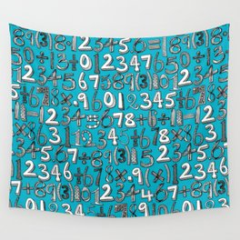 math doodle blue Wall Tapestry