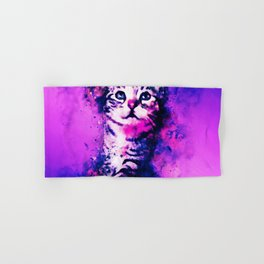 pianca baby cat kitten splatter watercolor purple pink Hand & Bath Towel