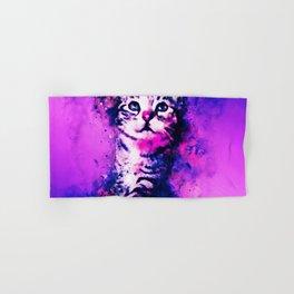 pianca baby cat kitten splatter watercolor purple pink Hand & Bath Towel