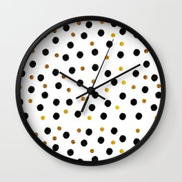 Black & Gold Glitter Confetti on white background- Elegant pattern Wall Clock