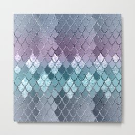 Mermaid Scales Navy Blue Teal Purple Glam #1 #shiny #decor #art #society6 Metal Print