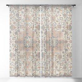 Fine Persia Tabriz Old Century Authentic Colorful Blue Rust Orange Vintage Patterns Sheer Curtain