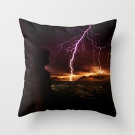 Storm seen from a helicopter by GEN Z Throw Pillow