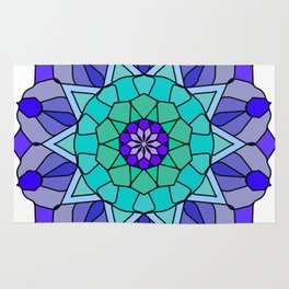 Flower power mandala in bold colors Rug
