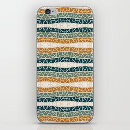 Mosaic Wavy Stripes in Blue-green, Terracotta and Olive iPhone Skin