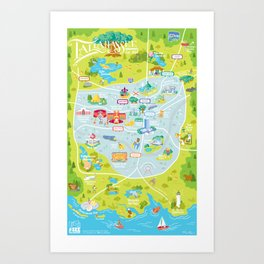 Illustrated Map of Tallahassee Art Print