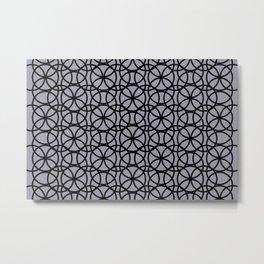 Pantone Lilac Gray and Black Rings Circle Heaven, Overlapping Ring Design Metal Print