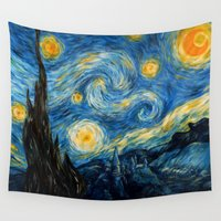 smaug Wall Tapestries featuring A Starry Night at Hogwarts by Smaug