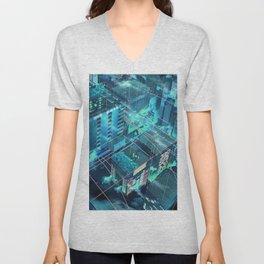 Fantastic Futuristic City Grid Blueish Shade Anime Scenery Ultra High Definition Unisex V-Neck