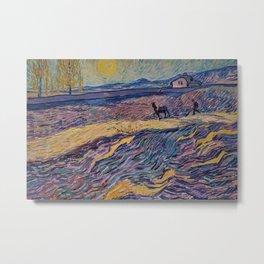 Enclosed Lavender Field with Ploughman by Vincent van Gogh Metal Print
