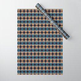 Orange Blues Geometric Shapes Wrapping Paper