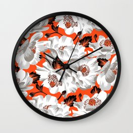 Mount Cook Lily - Orange/White Wall Clock