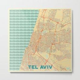 Tel Aviv Map Retro Metal Print