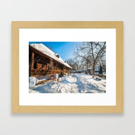 Fairy Tale Winter View at the Village Museum in Bucharest Framed Art Print