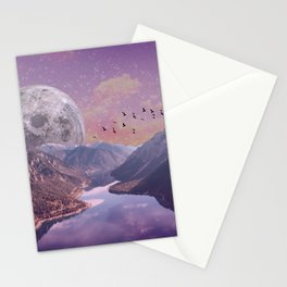 Moon Rise Over the Mountains Stationery Cards