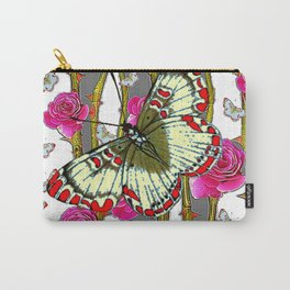 ORIENTAL STYLE BUTTERFLY & PINK ROSES GREY PATTERN DESIGN Carry-All Pouch