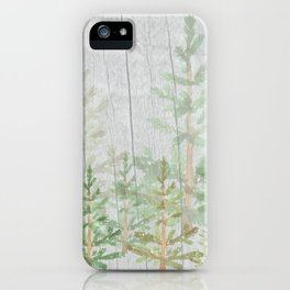 Pine forest on weathered wood iPhone Case