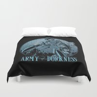 megaman Duvet Covers featuring Army of Dorkness by TEEvsTEE