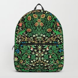 William Morris Jacobean Floral, Black Background Backpack