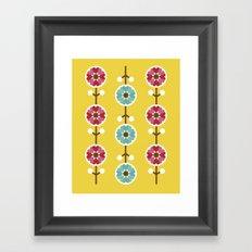 Scandinavian inspired flower pattern - yellow background Framed Art Print