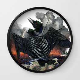 Dying Stars: Common Loon Wall Clock