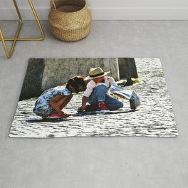 Children Playing Watercolor Rug