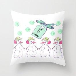 Snowmen Snowflakes Let it Snow Throw Pillow