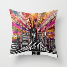 Linocut New York Blooming Throw Pillow