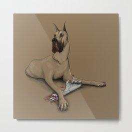 A Dog with a Bone Metal Print
