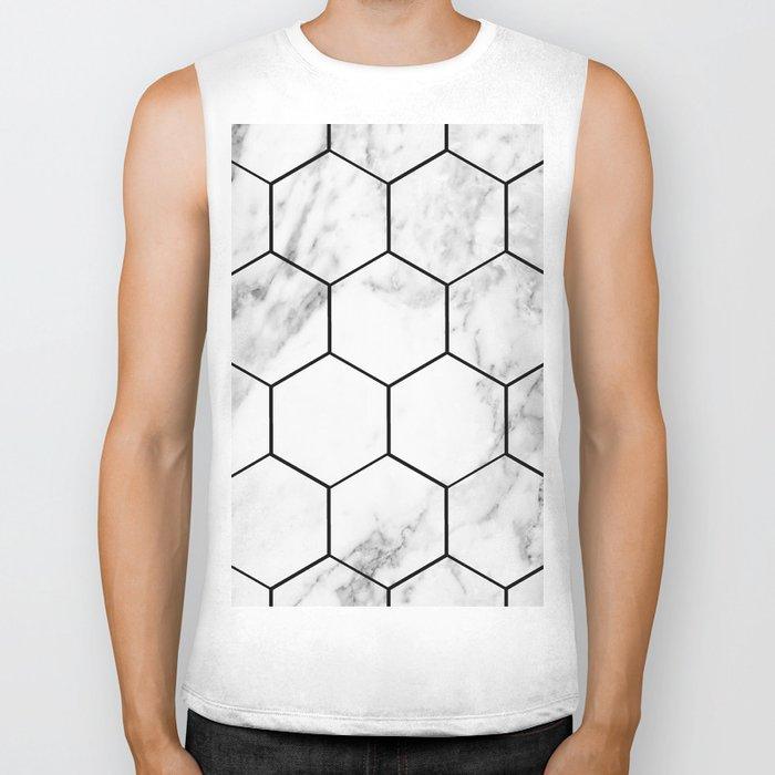 Marble hexagonal tiles - geometric beehive Biker Tank