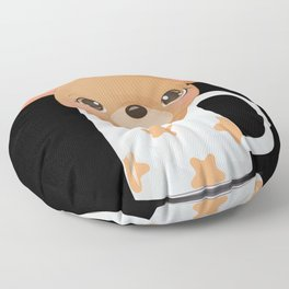 Cute mouse looks out of a cup with stars Floor Pillow