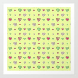 For the love of Watermelon - yellow background Art Print