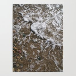Wave Foam and Beach Rocks Poster
